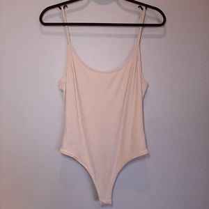 NWT Ribbed Backless Knit Thong Bodysuit